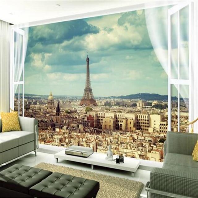 Beibehang Grosse Skala Nach Tapete Paris Eiffelturm Stadt Architektur