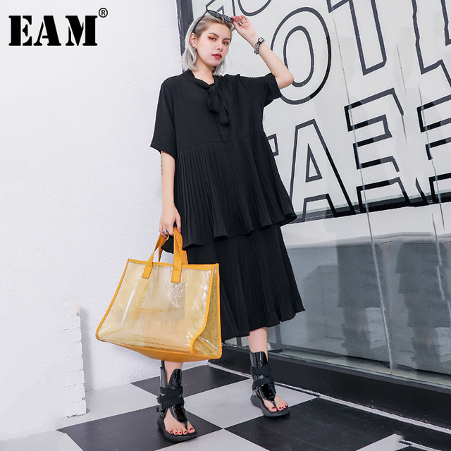[EAM] 2019 New Spring Summer Stand Collar Half Sleeve Bandage Bow Pleated Split Joint Cake Dress Women Fashion Tide JU637