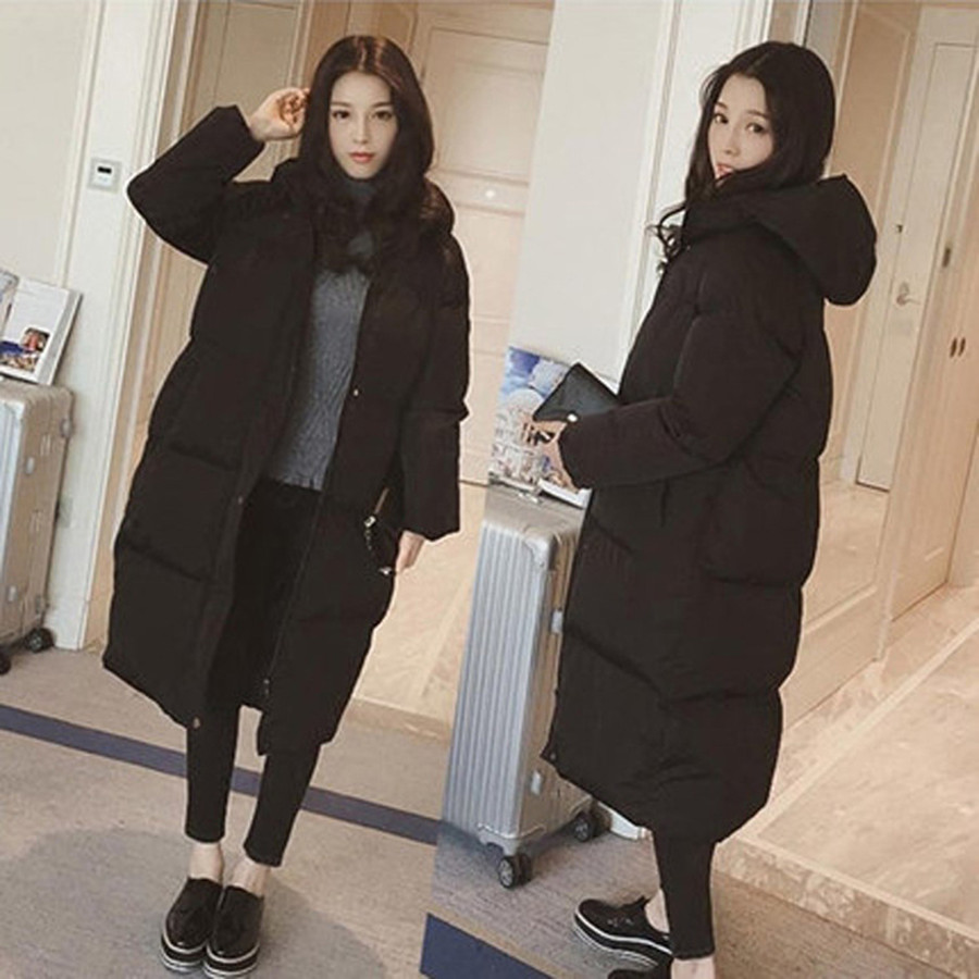 Size S-XXL New Women's Black Casual Loose Hooded Long Thick Warm Snow Cotton Jacket Parkas Coat For Women Winter,w505