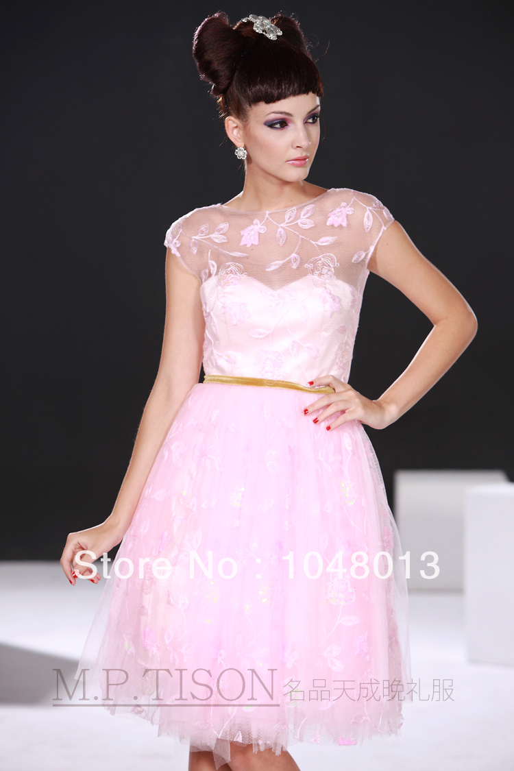 Free Shipping 2014 A Line Light Pink Lace Cap Sleeve Sash Junior ...