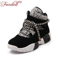 FACNDINLL Cow Suede Women Ankle Boots Autumn Winter Snow Boots Cross Tied Mixed Colors Wedges Black