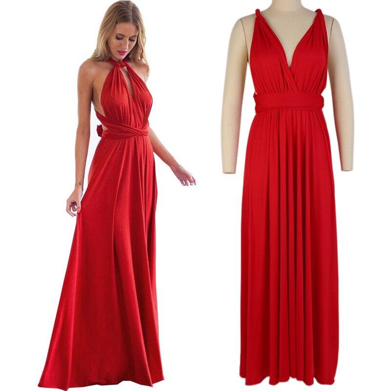 2019 Women Multiway Wrap Convertible Boho Maxi Club Dress Sexy Bandage Long Dress Party Bridesmaids Robe Femme