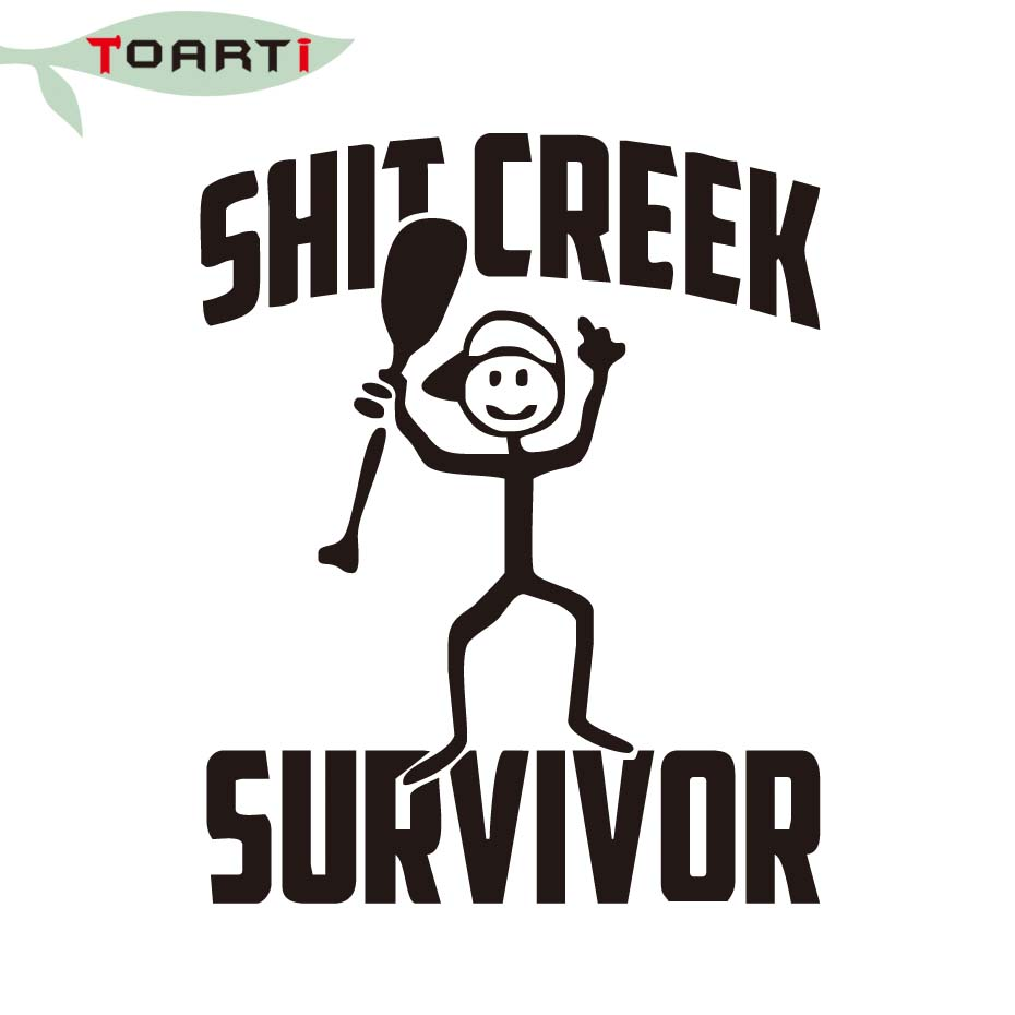 810cm shit creek survivor funny camping decal bumper vinyl car stickers adhesive decal creative man with paddle car styling in car stickers from