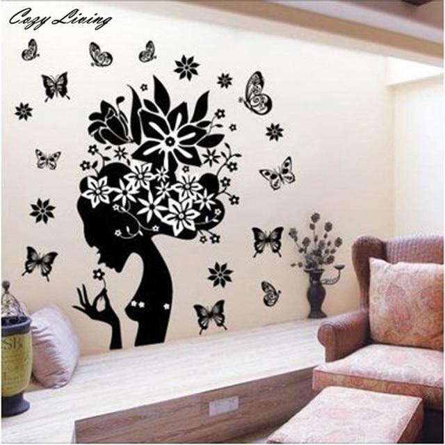 wallpaper sticker bedroom pretty butterfly flower fairy girl pvc
