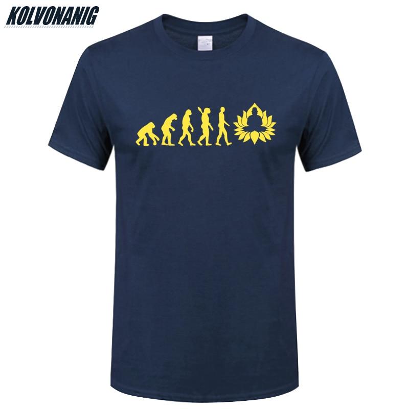 KOLVONANIG 2019 Summer Fashion Evolution Of Buddha Print T Shirts Men Cotton O Neck Short Sleeve Buddhism Printed T Shirt Tops in T Shirts from Men 39 s Clothing