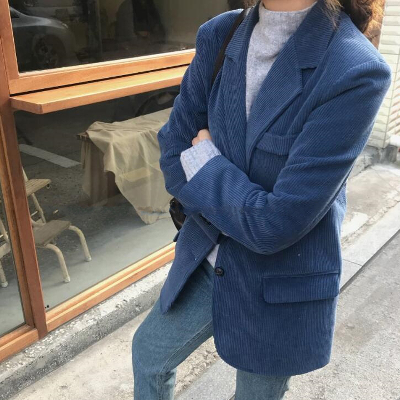 Elegant Women Blazers 2019 New Spring Chic Solid Corduroy Long Sleeve Single Breasted Loose Female Blazer Ladies Work Wear AO522