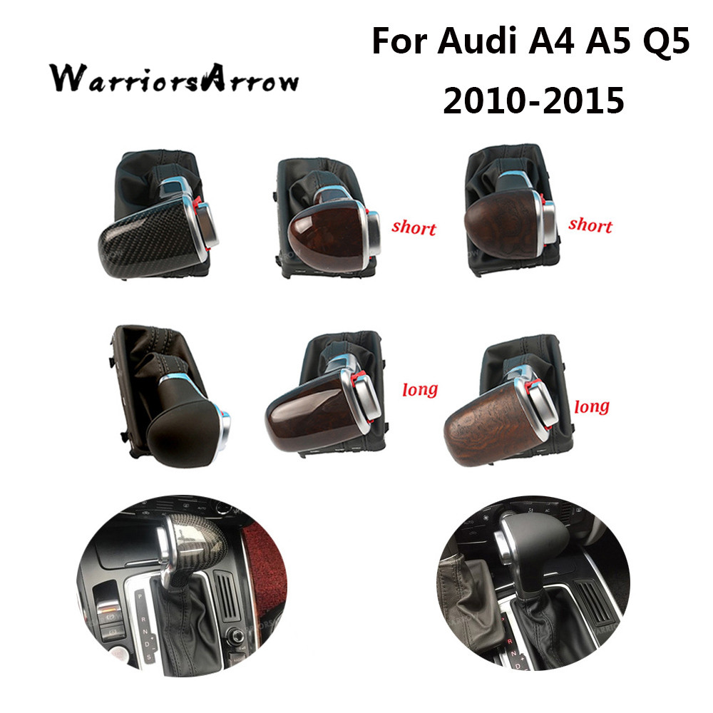 Chrome Gear Shift Knob Black Leather Gaiter Boot AT LHD Only For Audi A3 A4 B8