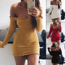 Pinky Is Black off the shoulder ruffle knitted dress Women elegant long sleeve winter bodycon dress Autumn sexy slim party dress