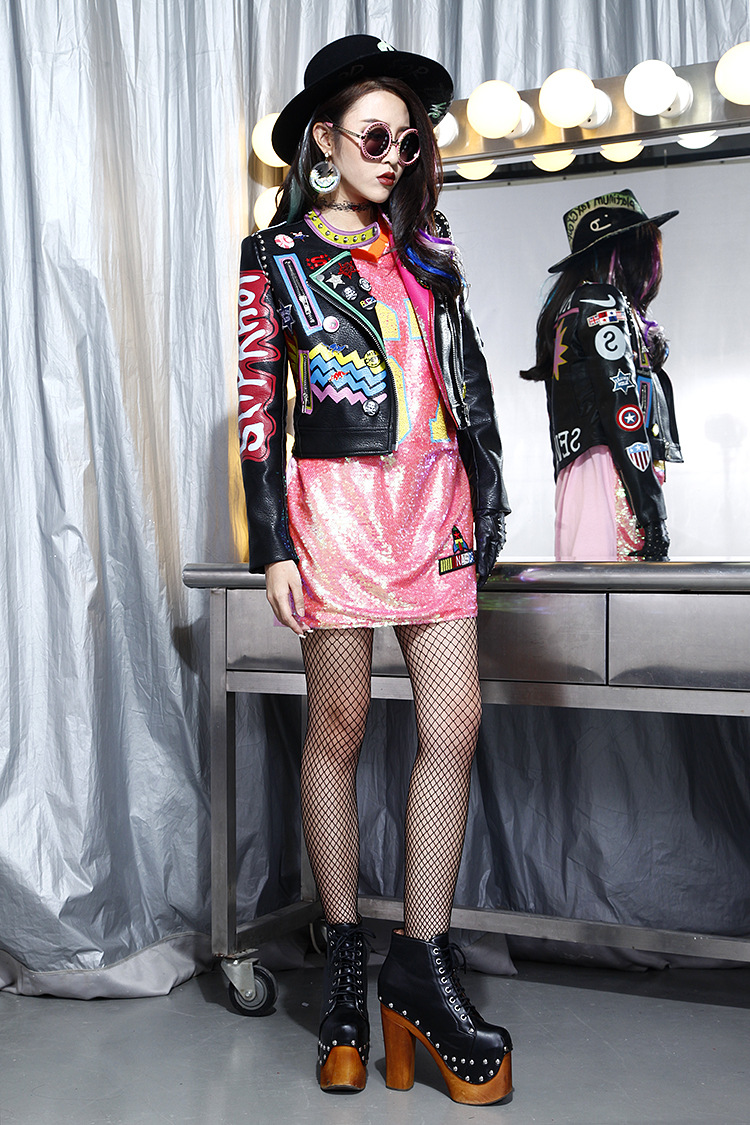 Outono feminino punk heavy metal curto jaqueta
