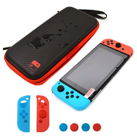 Waterproof Storage Bag Sets NS Joy Con Controller Silicone Case Thumb Grips Tempered Glass Screen Protector