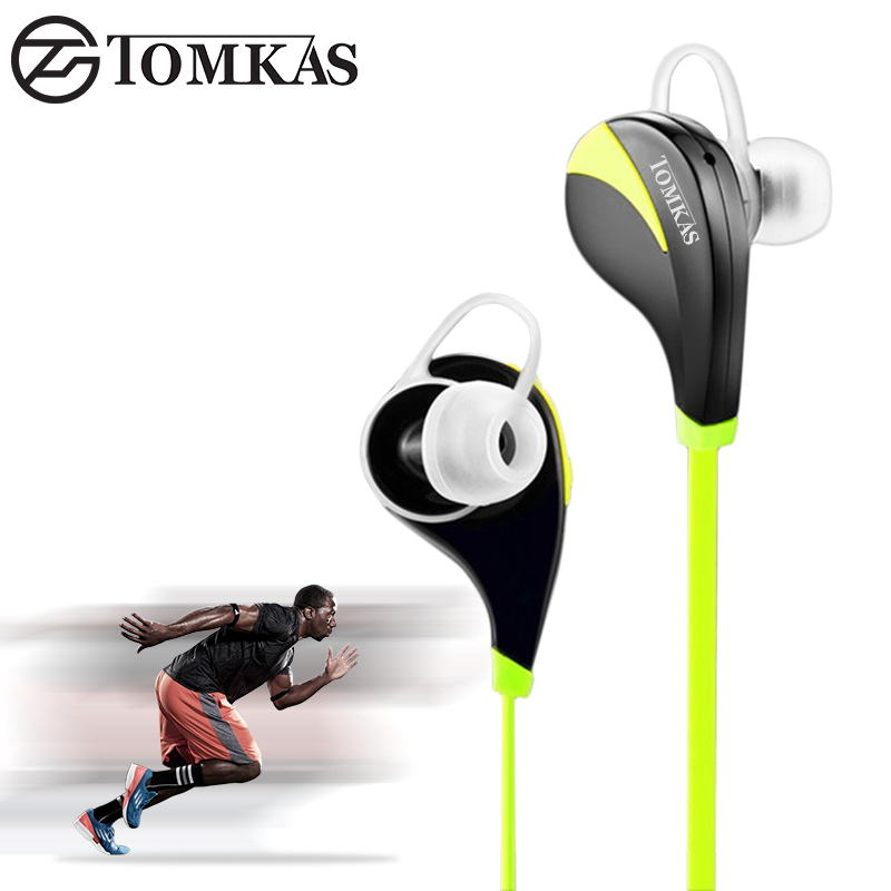 Bluetooth Wireless Earphone Tomkas Sport Hands Free Headset Stereo Mic Noise Cancelling Bluetooth Earphone For iphone 5 6 Phone new dacom carkit mini bluetooth headset wireless earphone mic with usb car charger for iphone airpods android huawei smartphone