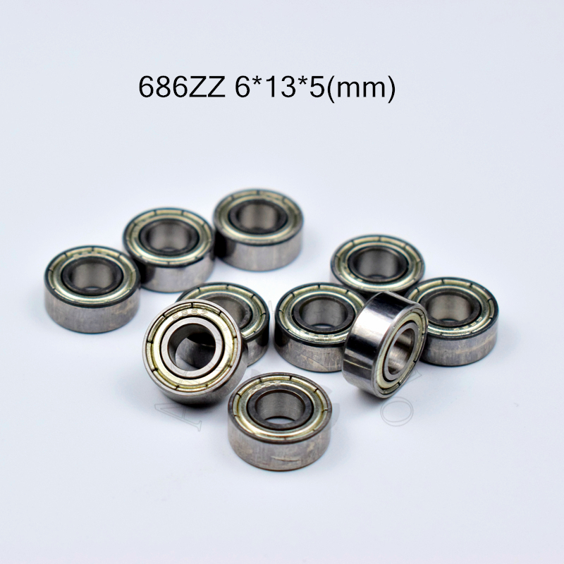 686ZZ 6*13*5(mm) 10pieces Free Shipping  ABEC-5 Bearings Metal Sealed Miniature Mini Bearing 686 686Z 686ZZ Chrome Steel Bearing