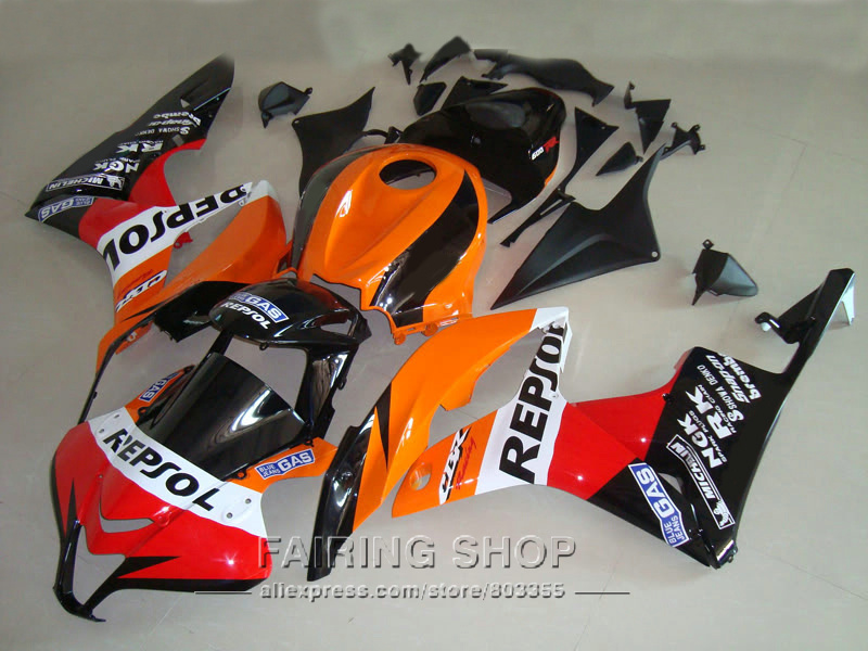 High quality fairing Kit For Honda CBR600RR 2007 08 ( Orange red sticker ) Fairings cbr 600 rr 2008 07 +tank cover LL12 for honda cbr600rr 2007 2008 2009 2010 2011 2012 motorbike seat cover cbr 600 rr motorcycle red fairing rear sear cowl cover