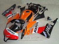 High quality fairing Kit For Honda CBR600RR 2007 08 ( Orange red sticker ) Fairings cbr 600 rr 2008 07 +tank cover LL12