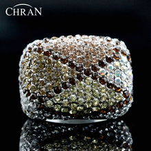 Chran Luxury Gold Color Costume Finger Jewelry Elegant Party Gifts Fashion Square Crystal Engagement Wedding Rings For Women
