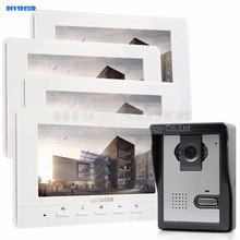 DIYSECUR 800 x 480 7inch Video Intercom Video Door Phone Doorbell 1 Camera 4 Monitors for Home / Office Security System White