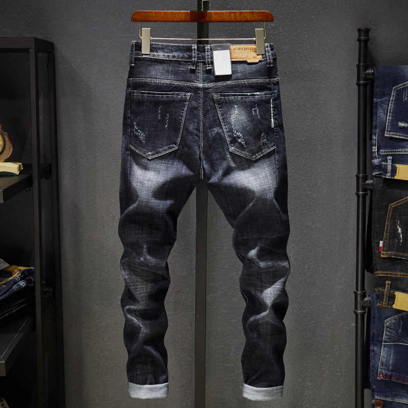 1e6d01be Top Fashion Mens Jeans Brand Robin 2019 Hip Hop Autumn Ripped for Men Solid  Cotton Full