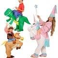 Unicornio onesie Dinosaurio Inflable Unicornio Caballo Del Traje Del Ventilador Llevarme Los Niños la Fiesta de Cumpleaños