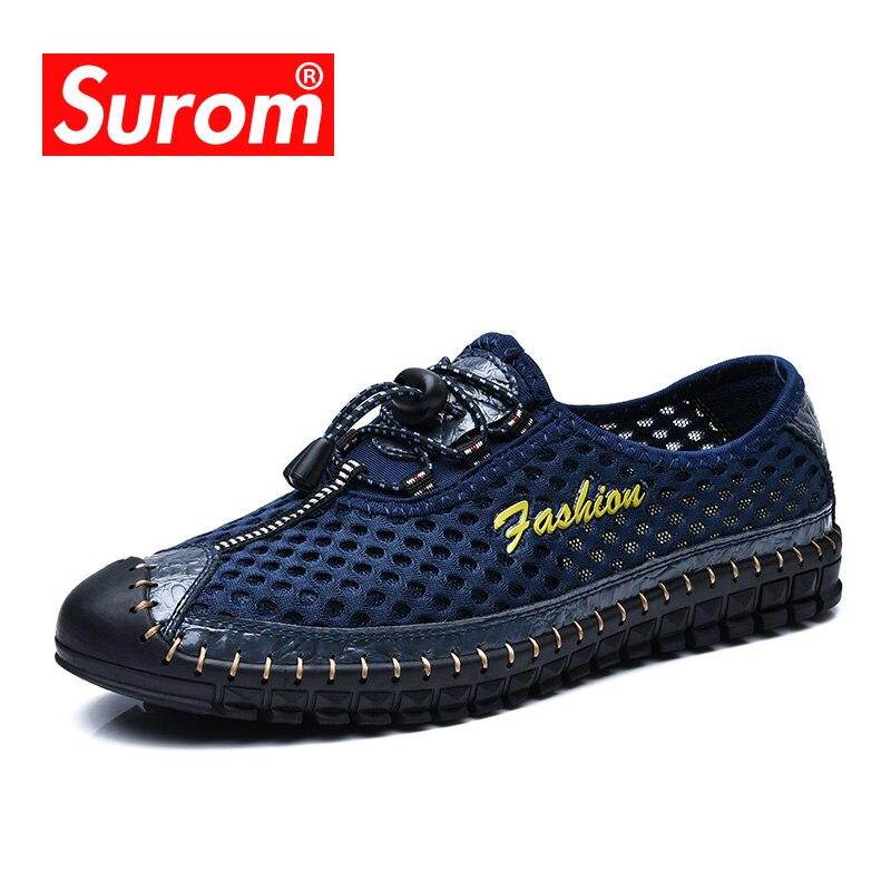 SUROM Krasovki Verão Dos Homens Confortável Respirável Malha Tênis Para Homens Deslizar sobre Mocassins ons Preguiçosos Malha sapatos Casuais luz