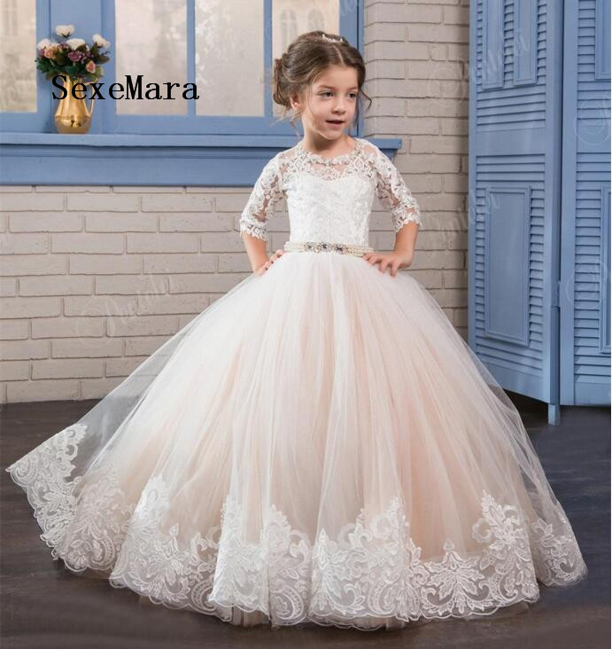 2018 Puffy Tulle Ball Gown Flower Girls Dresses For Weddings Lace Beaded Pearls Sash Birthday Party Dress Communion Gown аксессуар pqi multi plug usb to lightning microusb 30 pin m 90cm for iphone ipad ipod purple pqi icable multiplug pp