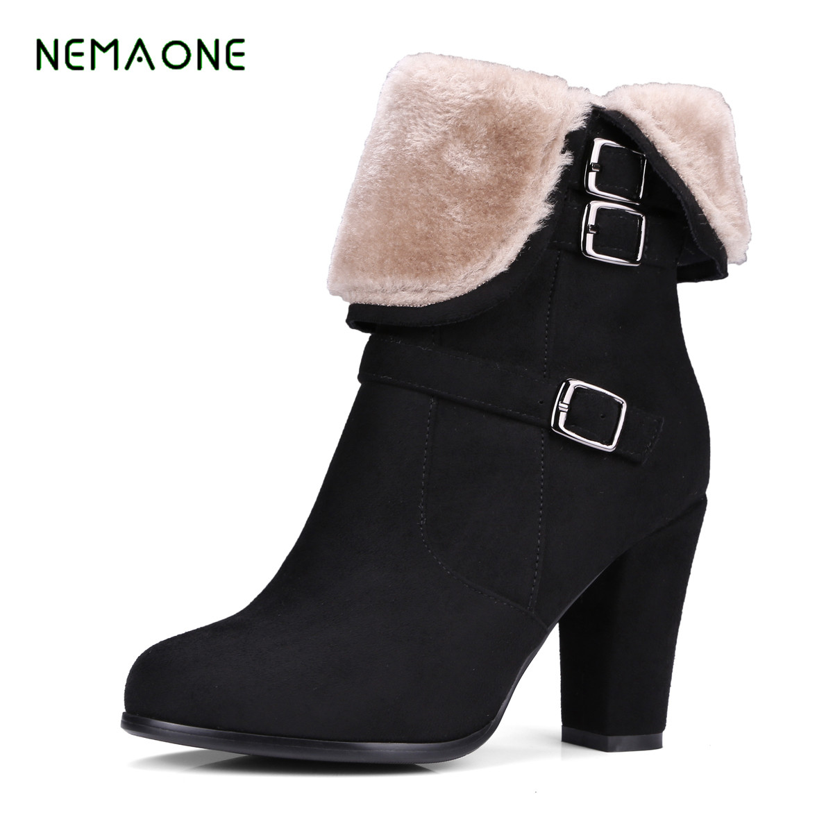 NEMAONE Female Winter Boots Women Shoes Buckles Warm Black Gray Short Ankle Snow Boots High Heels Lady Thick Boot Plus Size 2017 2017 cow suede genuine leather female boots all season winter short plush to keep warm ankle boot solid snow boot bota feminina