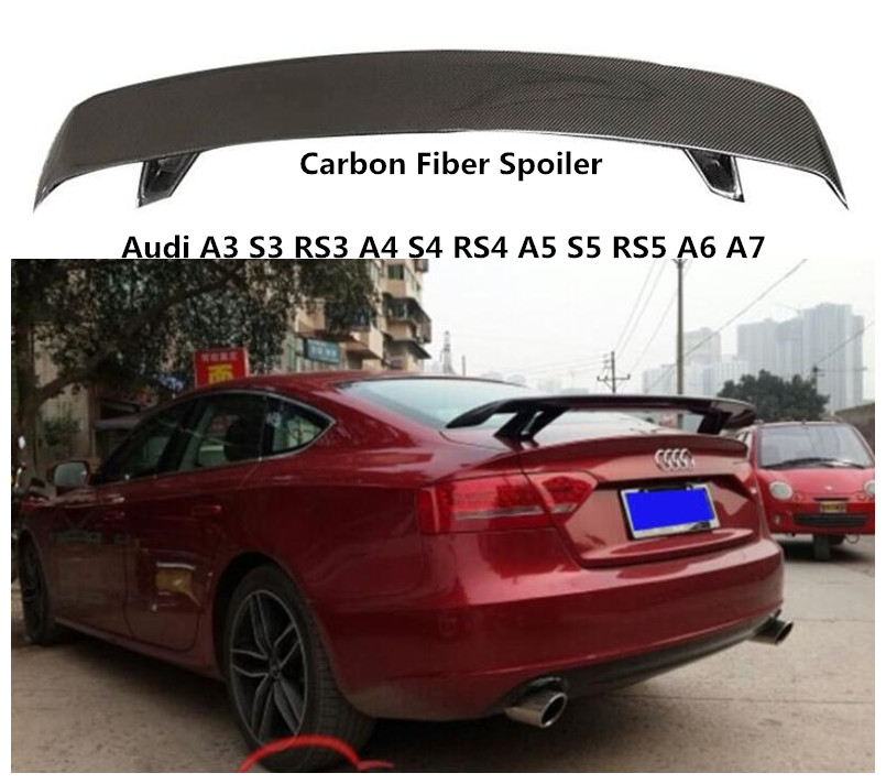 Carbon Fiber Spoiler For Audi TT A3 S3 RS3 A4 S4 RS4 A5 S5 RS5 A6 S6 A7 S7 2009-2019 High Quality Spoilers Accessories By EMS image