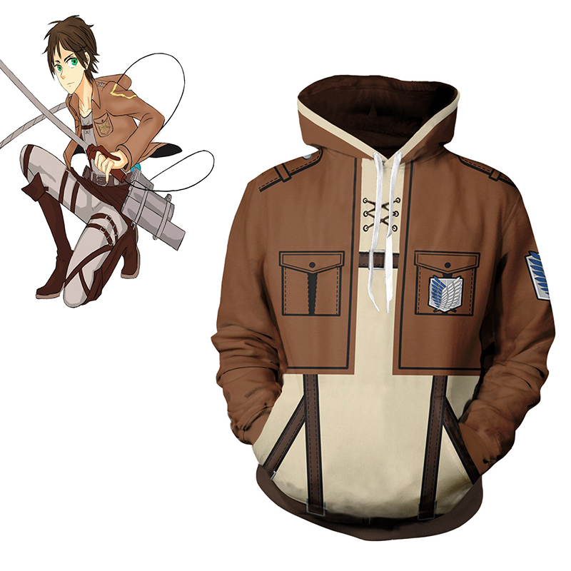 CostumeBuy Anime Attack On Titan Hoodie Jacket Shingeki no Kyojin Legion Eren Sweatshirts Zipper Hoodies Coat L920