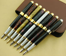 8PCS Jinhao 250 Metal Fine Fountain Pens with 1PC Quality Coffee Leather Pen Case / Pen Bag / Pencil Case Available for 12 Pens