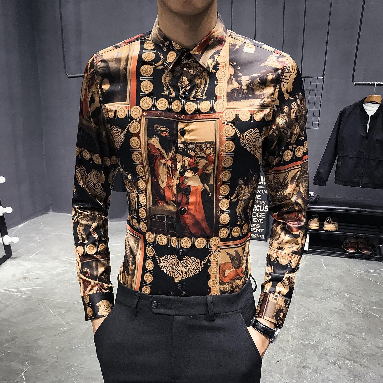 Noir or chemise hommes de luxe hommes chemise décontracté Slim Fit imprimé chemise parti Club robe chemise hommes