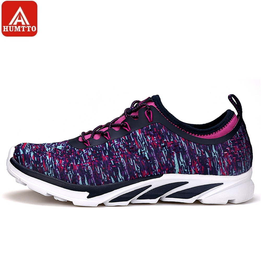 HUMTTO Women Running Shoes Lace-up Cushioning Sport Shoes Spring Autumn Flying Fabric Breathable Lightweight Sneakers
