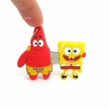 cute Spongebob Patrick best friend usb flash drive disk memory stick 16gb 32gb pendrive Pen drive personalizado mini gift 4 8gb