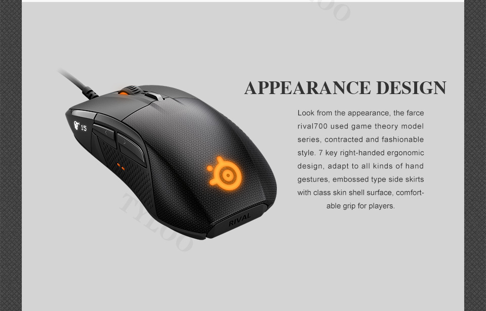 SteelSeries Rival 700 Gaming Mouse  USB Wired Mice 6500 DPI Optical Mouse Black Edition For FPS RTS MMO LOL Gamer Cheap 5