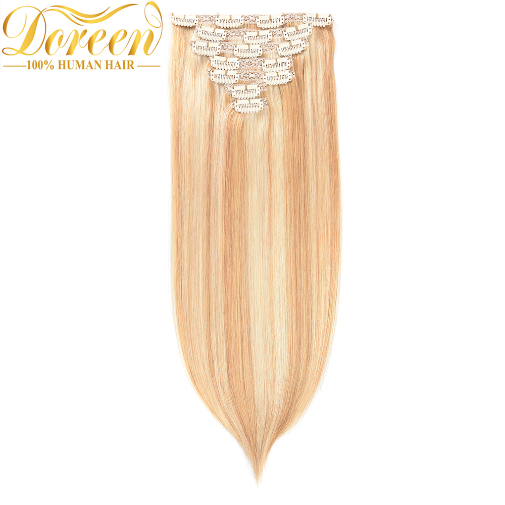 "Doreen 16""-24"" Mixed Piano Color Full Head Set Clip In Hair Extensions European Machine Made Remy Clips In 100% Human Hair(China)"
