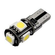 10pcs T10 5 led 5050 smd Canbus Free Error AUTO Luci di Ingombro W5W AUTO porta lampada di lettura della LUCE di cupola lampadina bianco rosso blu 12V