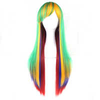 Soowee 13 Colors Straight Women High Temperature Fibric Synthetic Hairpiece Yellow Blue Red Ombre Hair Cosplay Wigs