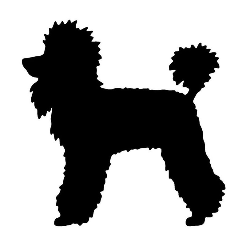 12.4*12.7CM Poodle Dog Car Stickers Cute Vinyl Decal Car Styling Truck Decoration Black/Silver S1-0853 high quality resin bichon frise dog figure car styling home room decoration love poodle decorative article christmas gift toy