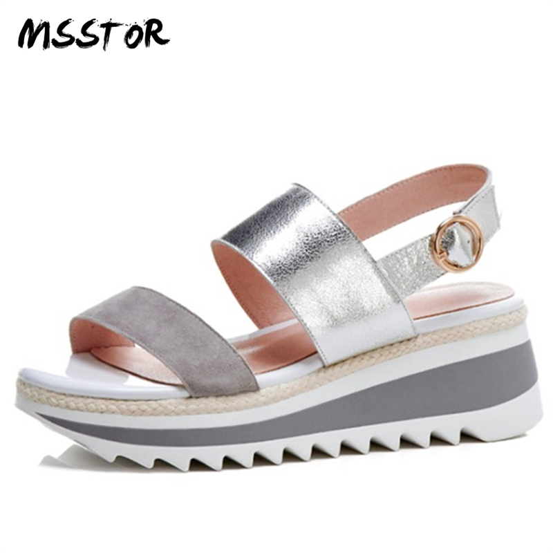 MSSTOR Pink Concise Platform Shoes Buckle Strap Kid Suede Wedges Fashion Summer Women Sandals Peep Toe Shoes Woman High Heel enmayer woman high heels sandals shoes women summer peep toe buckle strap fashion lady wedges platform shoes buckle strap cr30