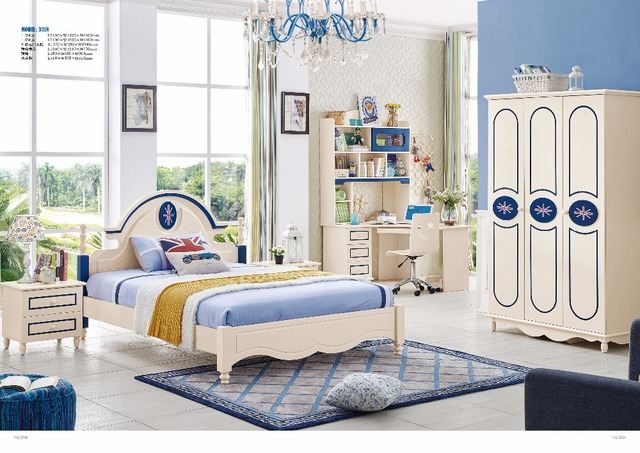 Jlmf3318 Modern Children Bedroom Furniture Set Queen Size Bed Wardrobe Study Desk Bedside Table