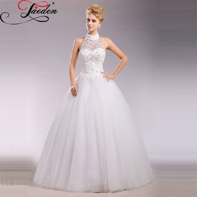 JAEDEN Halter Neck Lace Tulle Wedding Dresses Lace up Back Ball Gown ...