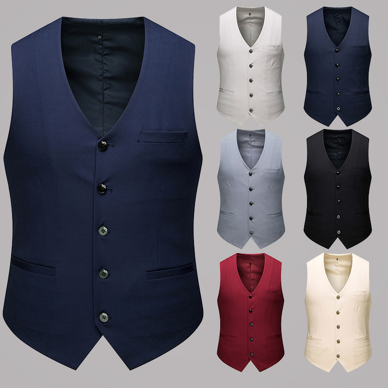 MJ005 Size M-6XL Four Seasons Spring And Autumn New Business Casual Men's Single-breasted Gentleman Suit Vest