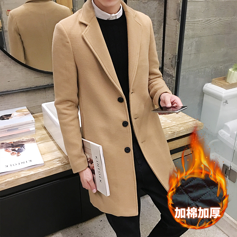 2018 New Winter Men's Fashion Fine Wool Warm Business Casual Long Trench Coats / Men Thick Cotton Pure Wool Casual Coats Jackets