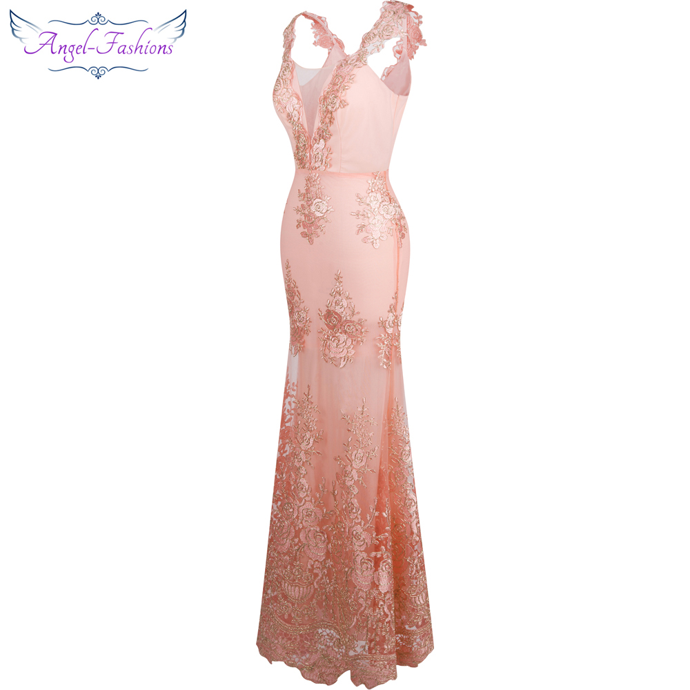 Image 3 - Angel fashions Womens V Neck Embroidery Lace Flower Mermaid Long  Evening Dress Pink 310evening dress pinkevening dresslong evening  dress
