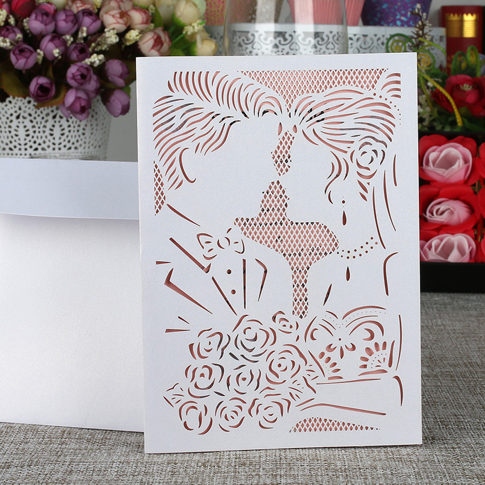 10cs Laser Cut Wedding Invitation Card Kit Bride Groom Carved Pattern with Inner Sheet Envelope Wedding Card Party Decor Supply remington groom kit plus pg6150