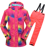new Winter Fleece Warm Ski Suit girls Waterproof Mountain Skiing Jacket Coat + Bib Pants Children Kids Snowboard Snow Clothing