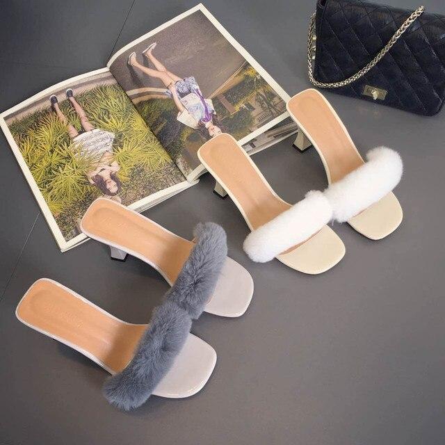 2016 Women Girl Real Fur Slides Slippers Handmade Furry High Heel Sandals Slipony Slip On Black White Gray Autumn Warm Shoes