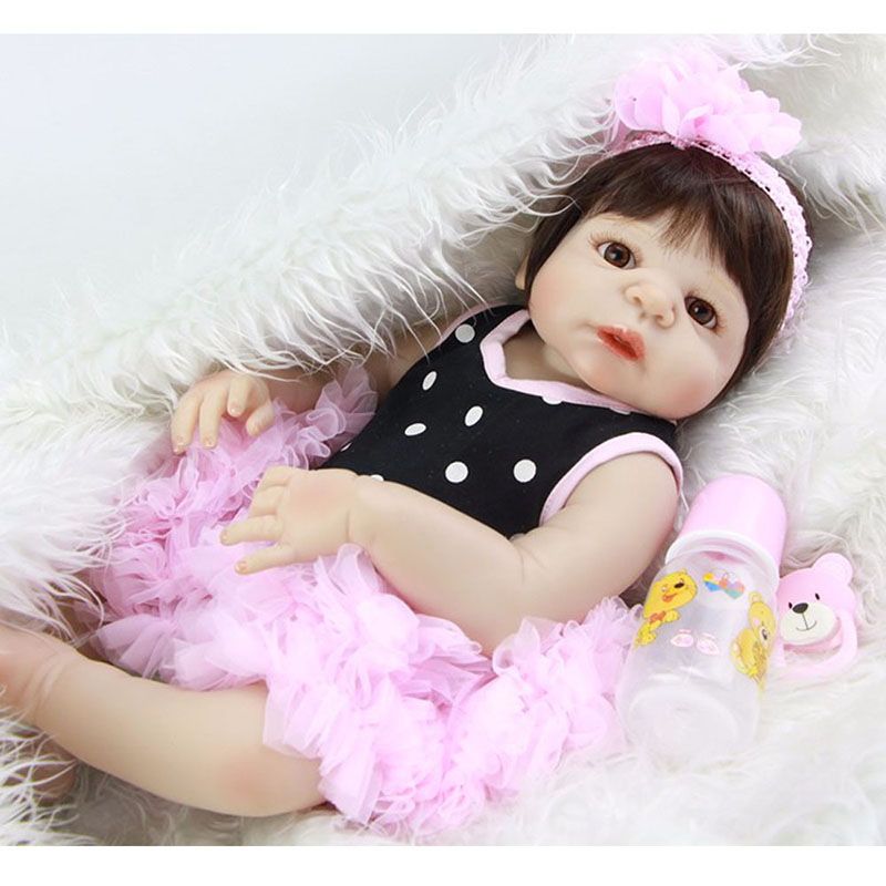 23 Full Body Vinyl Girls Doll Lifelike Baby Toddler Dolls Soft Silicone Reborn Doll with Princess Dress Children Birthday Gift short curl hair lifelike reborn toddler dolls with 20inch baby doll clothes hot welcome lifelike baby dolls for children as gift