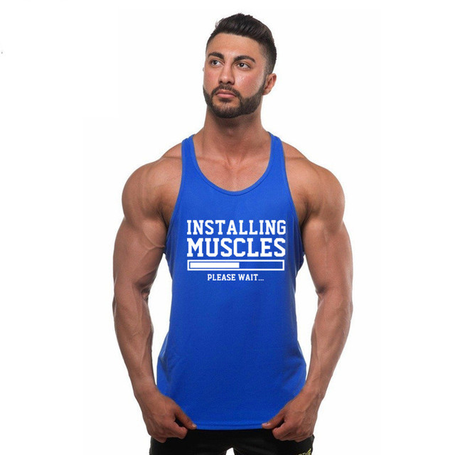 gyms t shirt men fitness cotton tank top