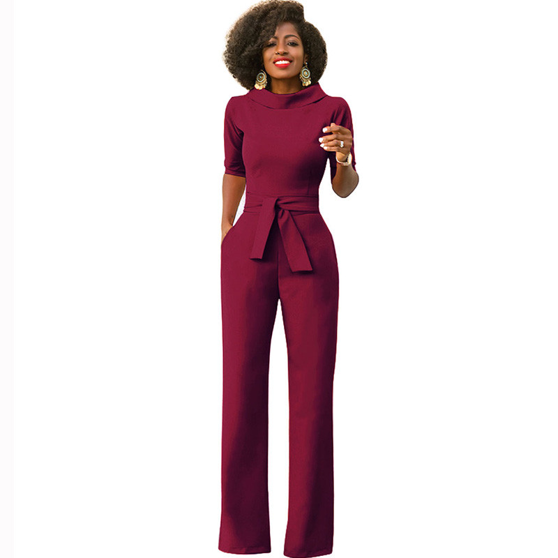 Elegant Office Work Wear Business Formal   Jumpsuits   2018 Women Half Sleeve Pockets Wide Leg Pants Romper Fashion Overalls Sashes