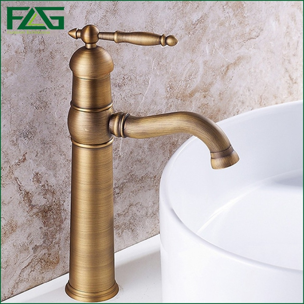 Brass sink taps bathroom - Flg Classic Basin Faucet Deck Mounted Cold Hot Kraan Antique Brass Sink Faucet Crane Vanity