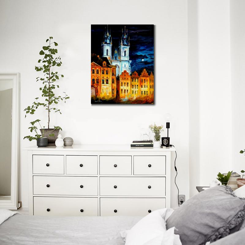 landscape building oil painting pictures blue castle palette knife canvas wall art modern home decor in painting calligraphy from home garden on - Blue Castle Decor